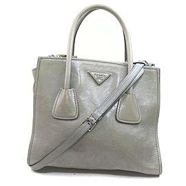 Prada Grey Leather 2way Tote Bag with Strap 862689