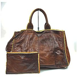 Prada Brown Leather Shearling Tote Bag with Pouch 861718