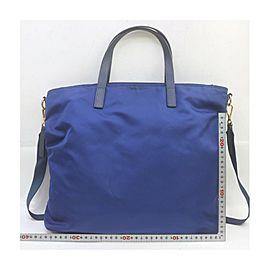 Prada Blue Nylon Tessuto 2way Tote Bag with Strap 863239