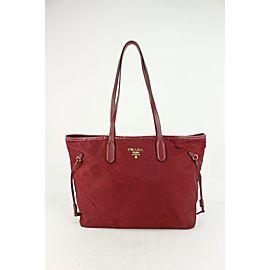 Prada Dark Red Tessuto Nylon Shopper Tote Bag 820pr84