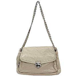 Prada Beige-Cream Leather Chain Flap 873003
