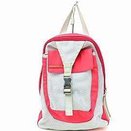 Prada Bicolor Sports 870310 Red Nylon Backpack