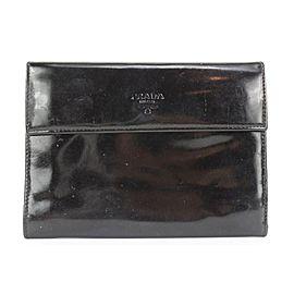 Prada Large Black Patent Flap Wallet 336pr224