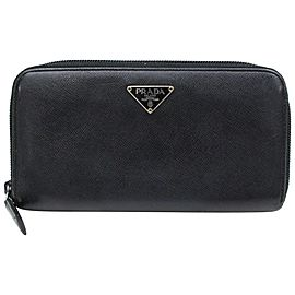 Prada Black Saffiano Leather Zippy Long Continental 871093 Wallet