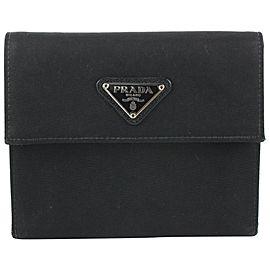 Prada Black Tessuto Nylon Compact Trifold Wallet 544pr611
