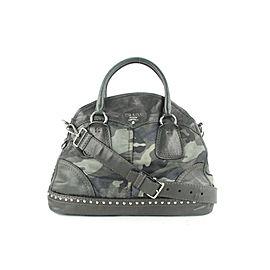 Prada Charcoal Camouflage Studded 2way Way Dome Bowler Bag 685pr621