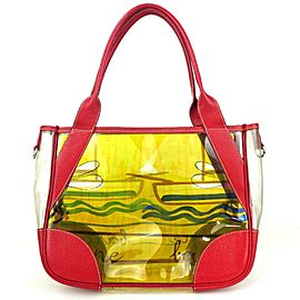 Prada Clear Tote Red Yellow 854808
