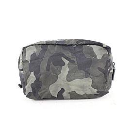 Prada Black Camo Tessuto Cosmetic Pouch Second Bag 684pr621