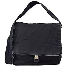 Prada Crossbody Messenger 867319 Black Nylon Laptop Bag
