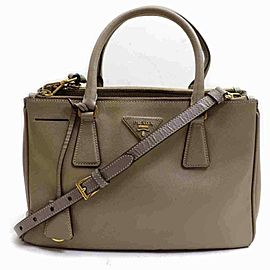 Prada Double Lux Zip Tote Saffiano 860098 Light Brown Taupe Leather Shoulder Bag