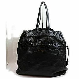 Prada Black Leather Drawstring Tote 861166