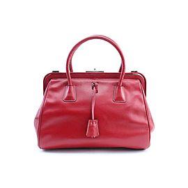 Prada Frame Bowler 7pr0213 Red Leather Satchel