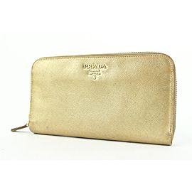 Prada Gold Saffiano Leather zip Around Continental Wallet