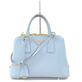 Prada Blue Saffiano Leather Dome Bowler 2way Bag 862918