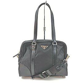 Prada Black Tessuto 2way Boston Shoulder bag 863188