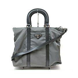 Prada Grey Nylon Tessuto 2way Tote Bag 863469