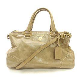 Prada Beige Glazed Leather 2way Tote 863480