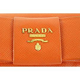 Prada Orange Saffiano Leather Bow 6 Key Holder Wallet Case 354pr525
