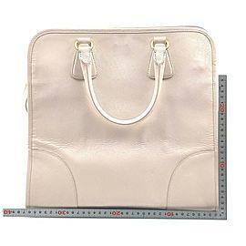 Prada Beige Saffiano Leather Luxe Bowler 2way Tote 861595