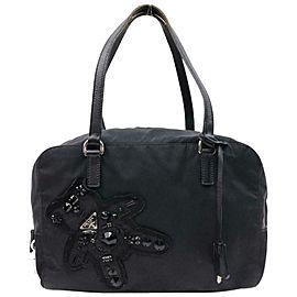Prada Sequin Teddy Bear Bowler Satchel (With Padlock and Key) 870666 Black Nylon Shoulder Bag