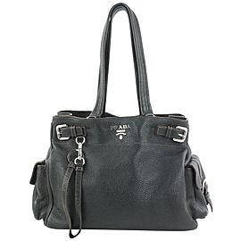 Prada Dark Brown Leather Belt Buckle Tote Bag