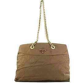 Prada Brown Nylon Chain Tote bag