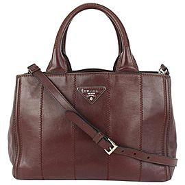 Prada Dark Burgundy Bordeaux Leather Canapa 2way Tote Bag 143pr729