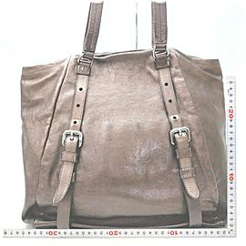 Prada Brown Leather Shopper Tote Bag 863019
