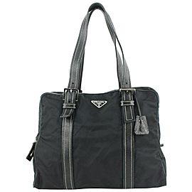 Prada Black Nylon Tessuto x Leather tote bag 34pr624