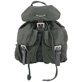 Prada Dark Green Tessuto Nylon Twin Pocket Backpack 885pr413