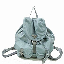 Prada Twin Pocket Tessuto 870909 Light Blue Nylon Backpack