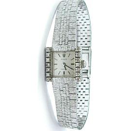 Vintage 18Kt Rolex Diamond White Gold Watch .28Ct