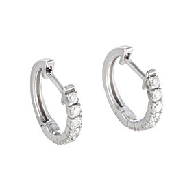 14K White Gold with 0.50ct Diamond Hoop Earrings