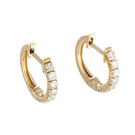 14K Yellow Gold with 0.50ct Diamond Tiny Round Hoop Earrings
