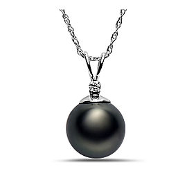 14k White Gold Natural Color Tahitian Cultured Pearl & Diamond Pendant Necklace