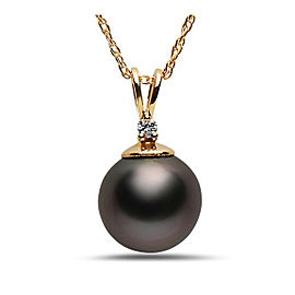 14k Yellow Gold Natural Color Tahitian Cultured Pearl & Diamond Pendant Necklace
