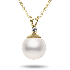 14k Yellow Gold Akoya Cultured Pearl & Diamond Pendant Necklace