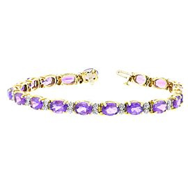 14K Yellow Gold Diamond and Purple Stone Bracelet