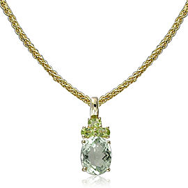 14k Yellow Gold Green Amethyst Pendant Necklace