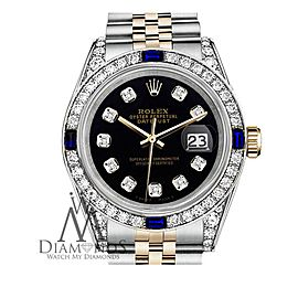 Women's Rolex 31mm Datejust Two Tone Jubilee Black Color Dial Diamond Accent Bezel + Lugs + Sapphire