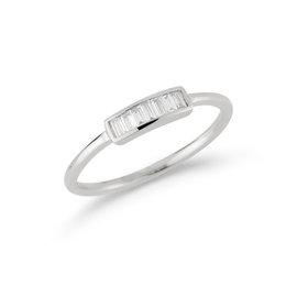 White Gold Sadie Pearl Baguette Ring