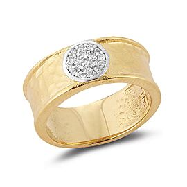 14 Karat Yellow Gold Matte and Hammer-finished Centered With 0.15 Carats of a Pave Set Diamond Circle Ring