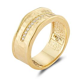14 Karat Yellow Gold Matte and Hammer-finished Scallop-edged Accented With 0.10 Carats of Burnish Set Diamonds Ring