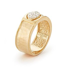 14 Karat Yellow Gold Matte and Hammer-finish Centered With 0.25 Carats of a Pave Set Diamond Oval Ring