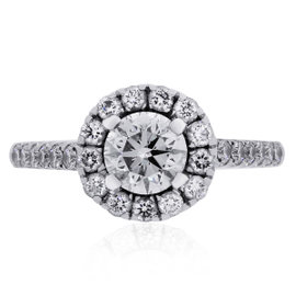 A. Jaffe 18K White Gold 0.50ctw Diamond Engagement Ring Size 4