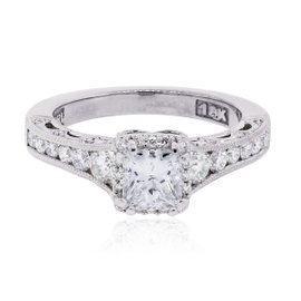 Tacori 18K White Gold 1.28ctw Diamond Reverse Crescent Diamond Ring Size 6.25