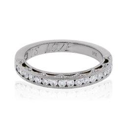 Tacori 18K White Gold 0.40ctw Diamond Reverse Crescent Wedding Band Ring Size 6.5