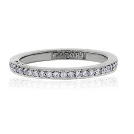 Tacori Dantela 18K White Gold 0.43ctw Diamond Eternity Thin Band Ring Size 4.25