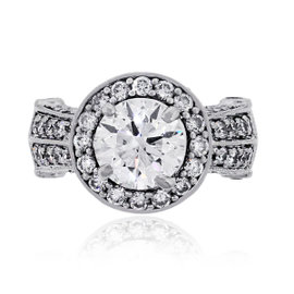 14K White Gold and 1.59ct Diamond Ring Size 3.5