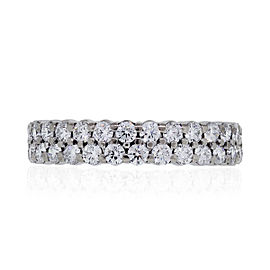 Hearts On Fire 18k White Gold 1.64ctw Diamond Double Row Eternity Band Ring Size 5.75